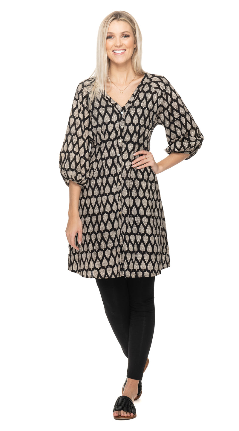 Sita Dress-black blockprint-organic cotton