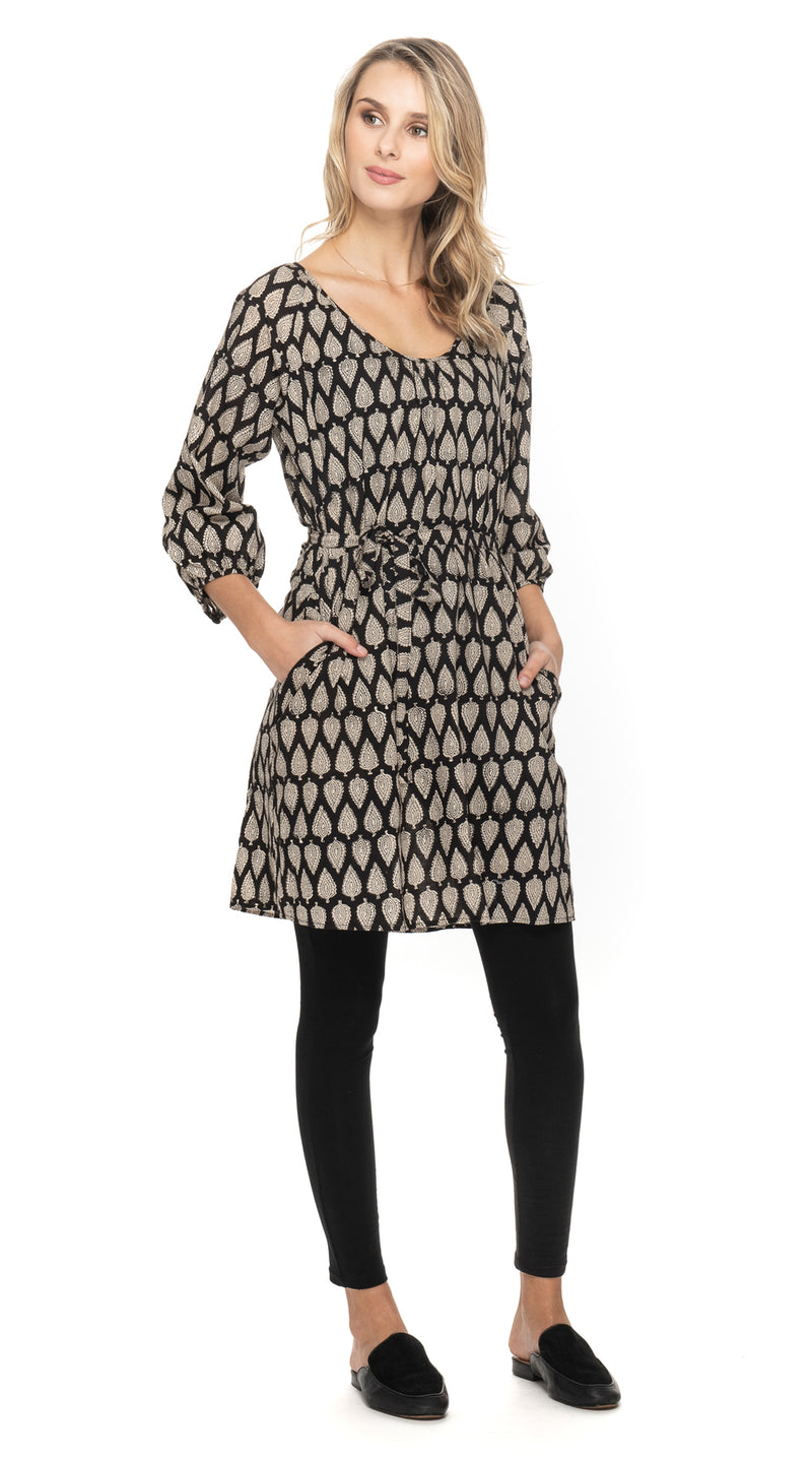 Gayatri Dress Dress-black blockprint-organic cotton