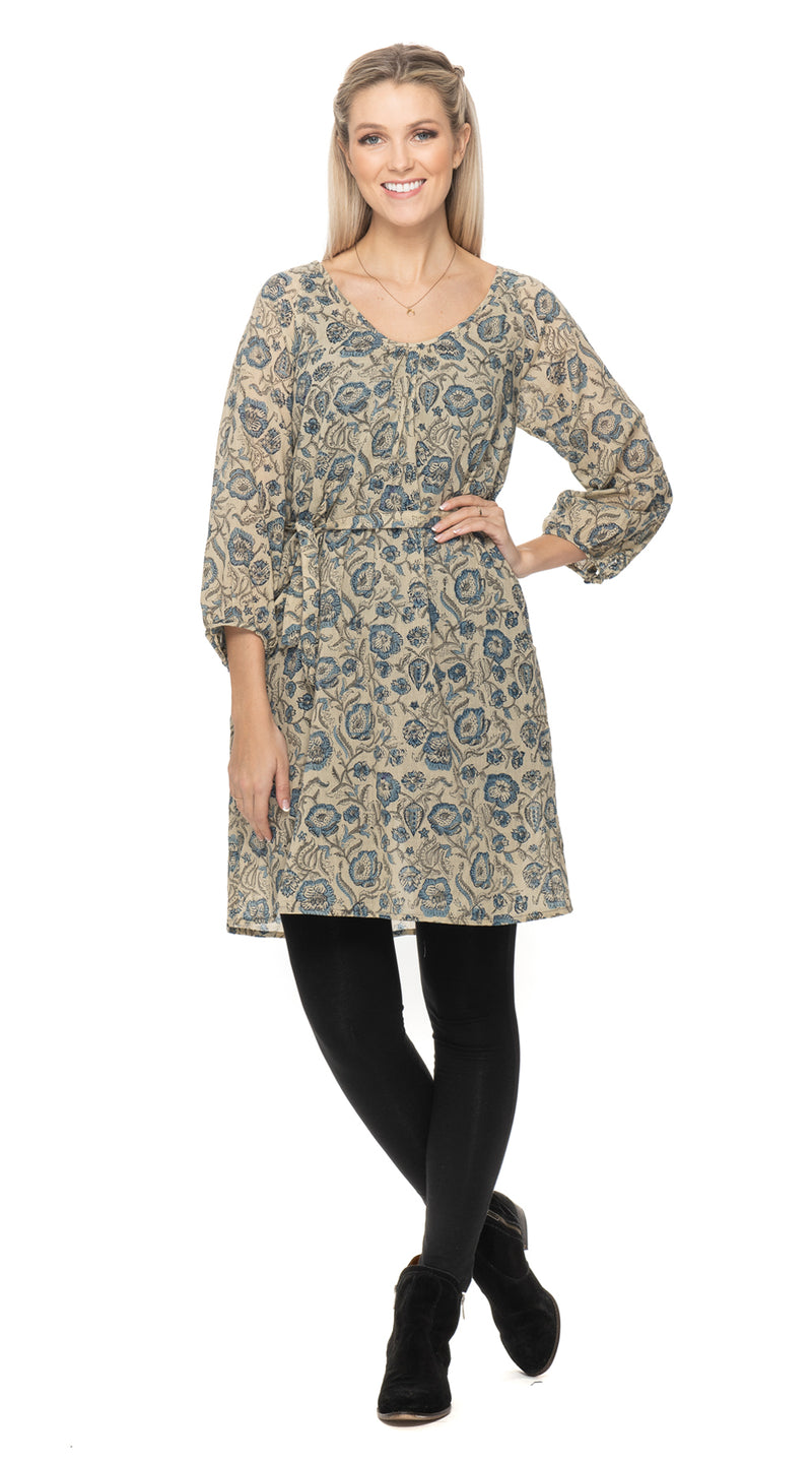 Gayatri Dress-cream blockprint-organic cotton