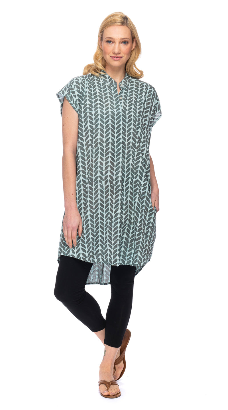 Chelsea Tunic - organic cotton - block print leaf