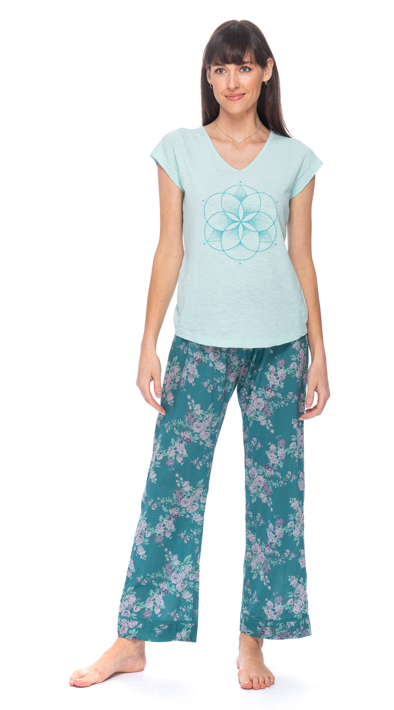 Cotton Pajama Pants- aqua flower