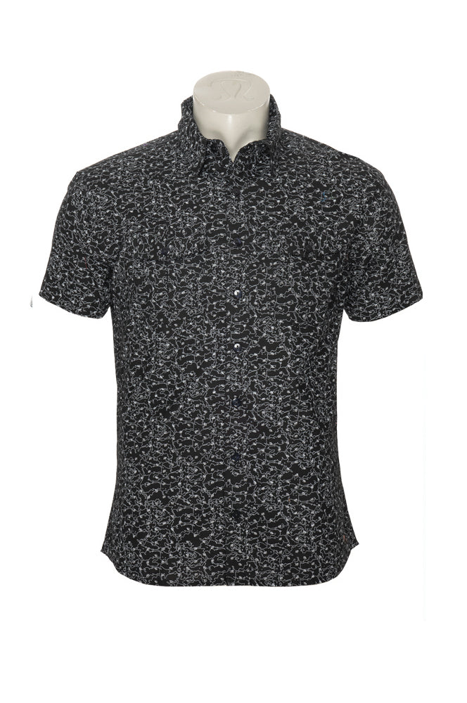 Men's Austin Shirt - black map - cotton