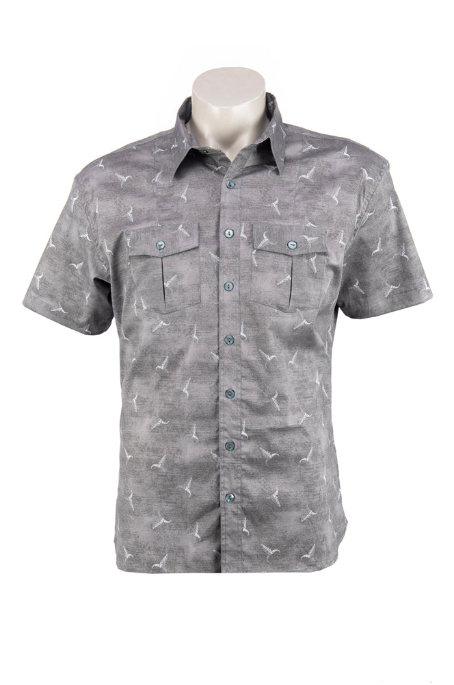 Men's Austin Shirt - grey cow skull- cotton