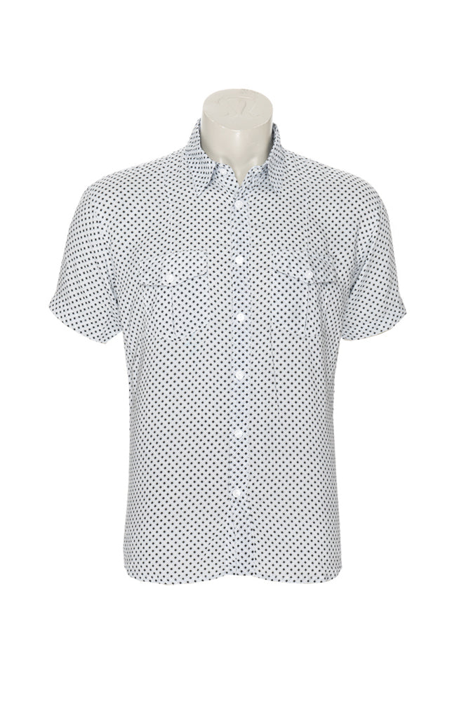 Men's Austin Shirt - white diamonds - rayon