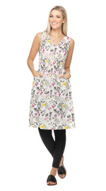 Frankie Dress - cotton - white botanical