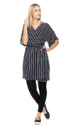 Kyoto Wrap Dress - black+white