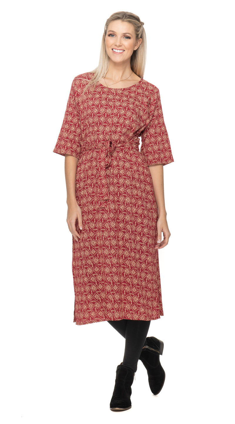 Meera Dress - red rayon crepe