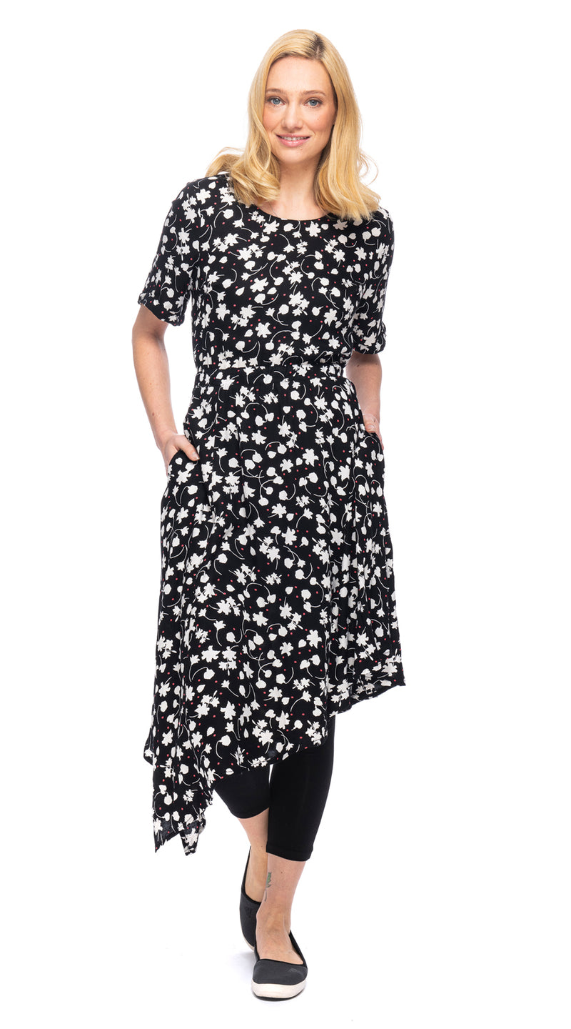 Triangle Dress - black moss rayon