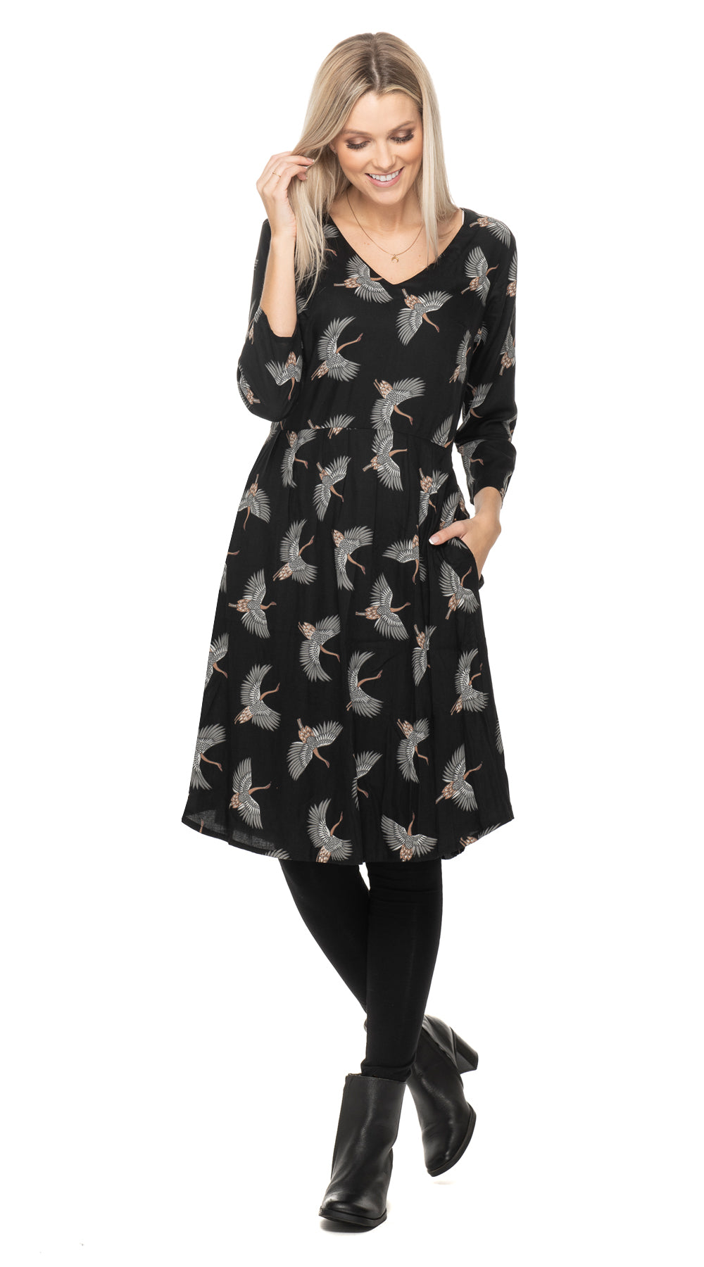 Kelly Dress - black cranes