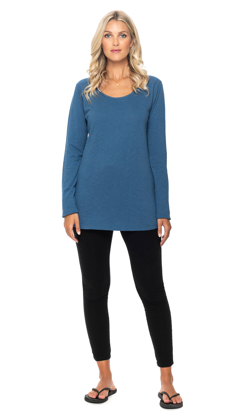 Essential Long Top - cornflower - organic cotton