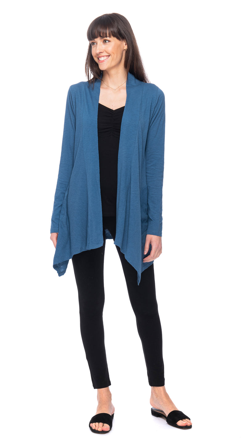 Iris Cardigan - organic cotton - cornflower