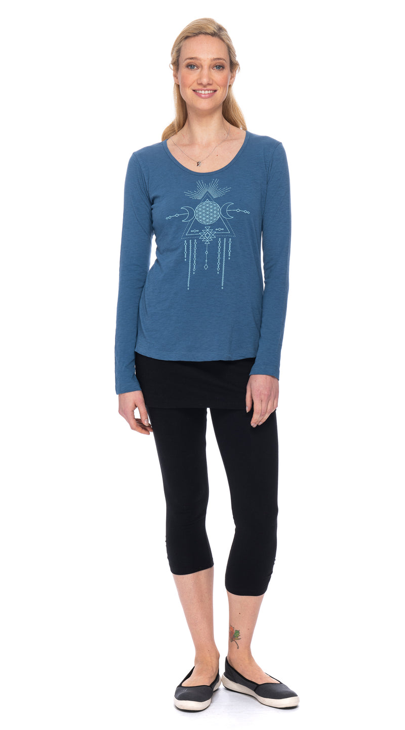 Maya Tee - cornflower tribal dream - organic cotton