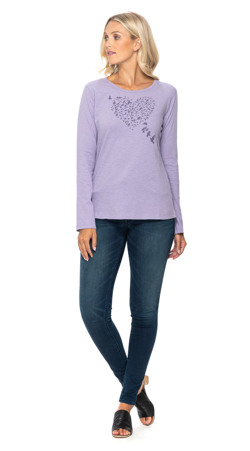 Maya Tee - wisteria flying heart - org.cotton
