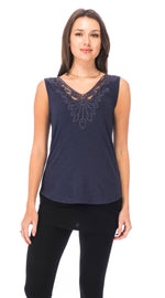 Lace Top - black - organic cotton