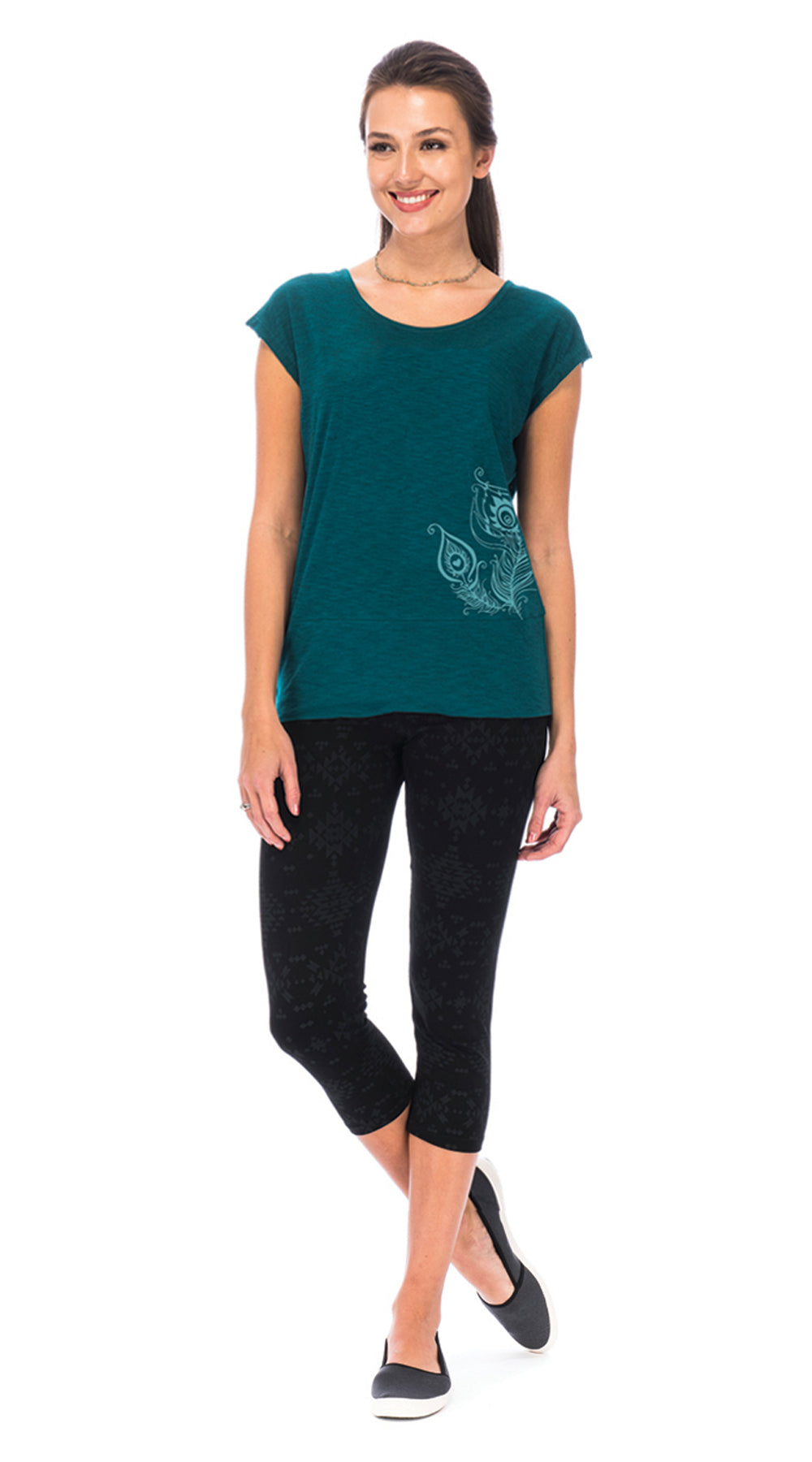 Christa Top - peacock feathers - organic cotton
