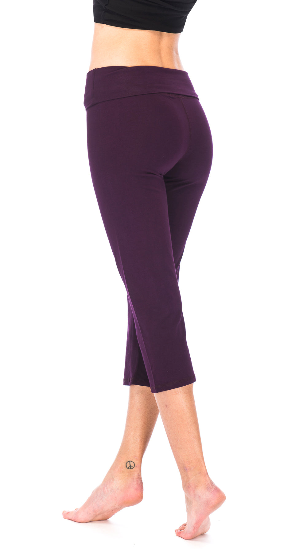 Roll Top Capris - mulberry - organic cotton