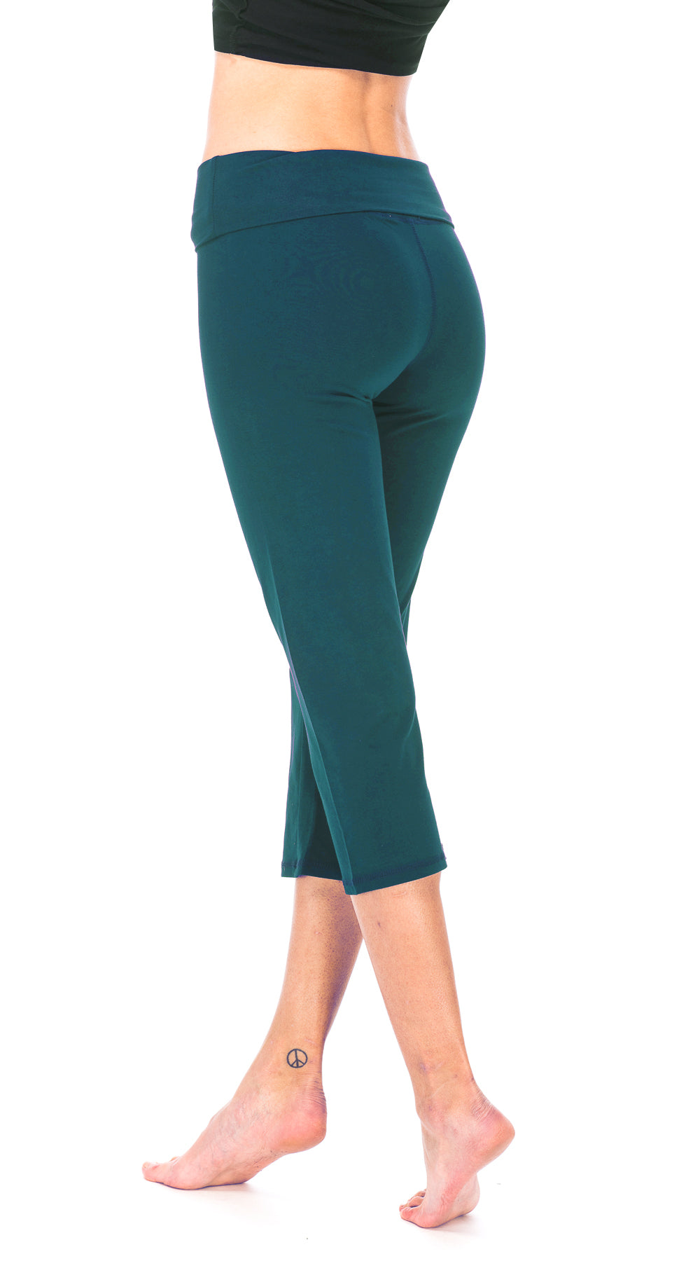 Roll Top Capris - peacock - organic cotton