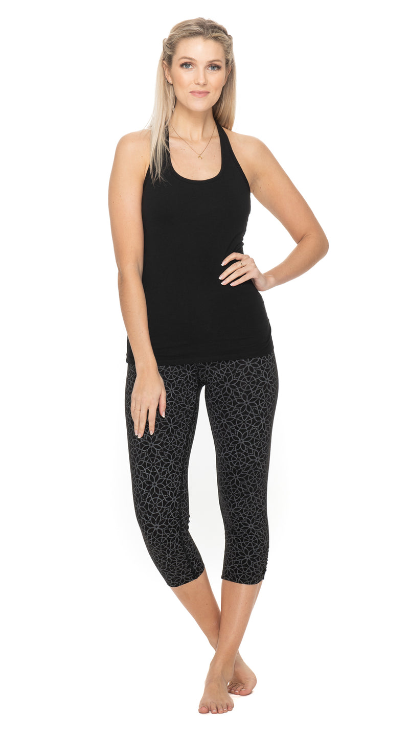 Capri Leggings - black matrix print - org.cotton