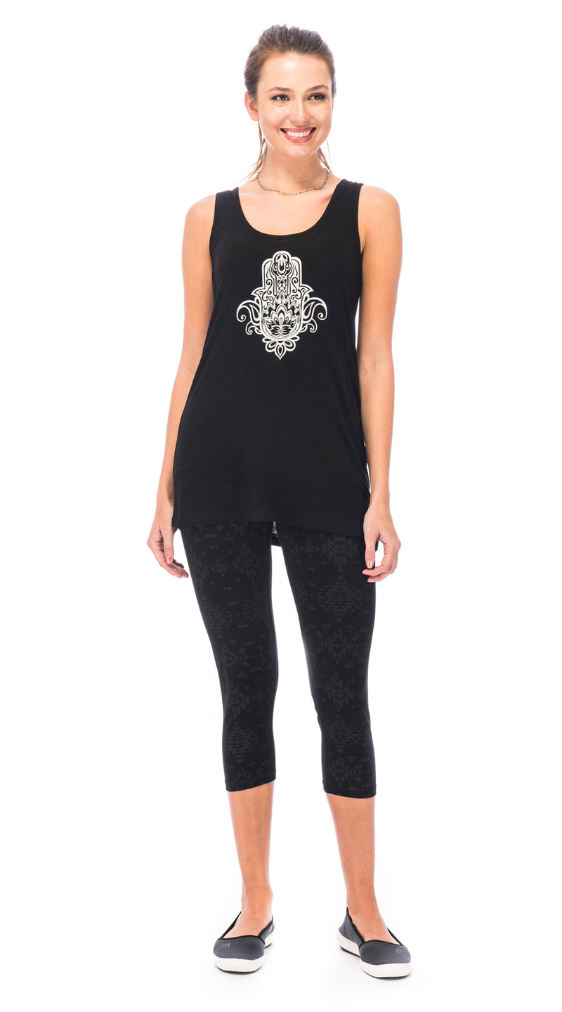 Long Tank - black Hamsa - organic cotton