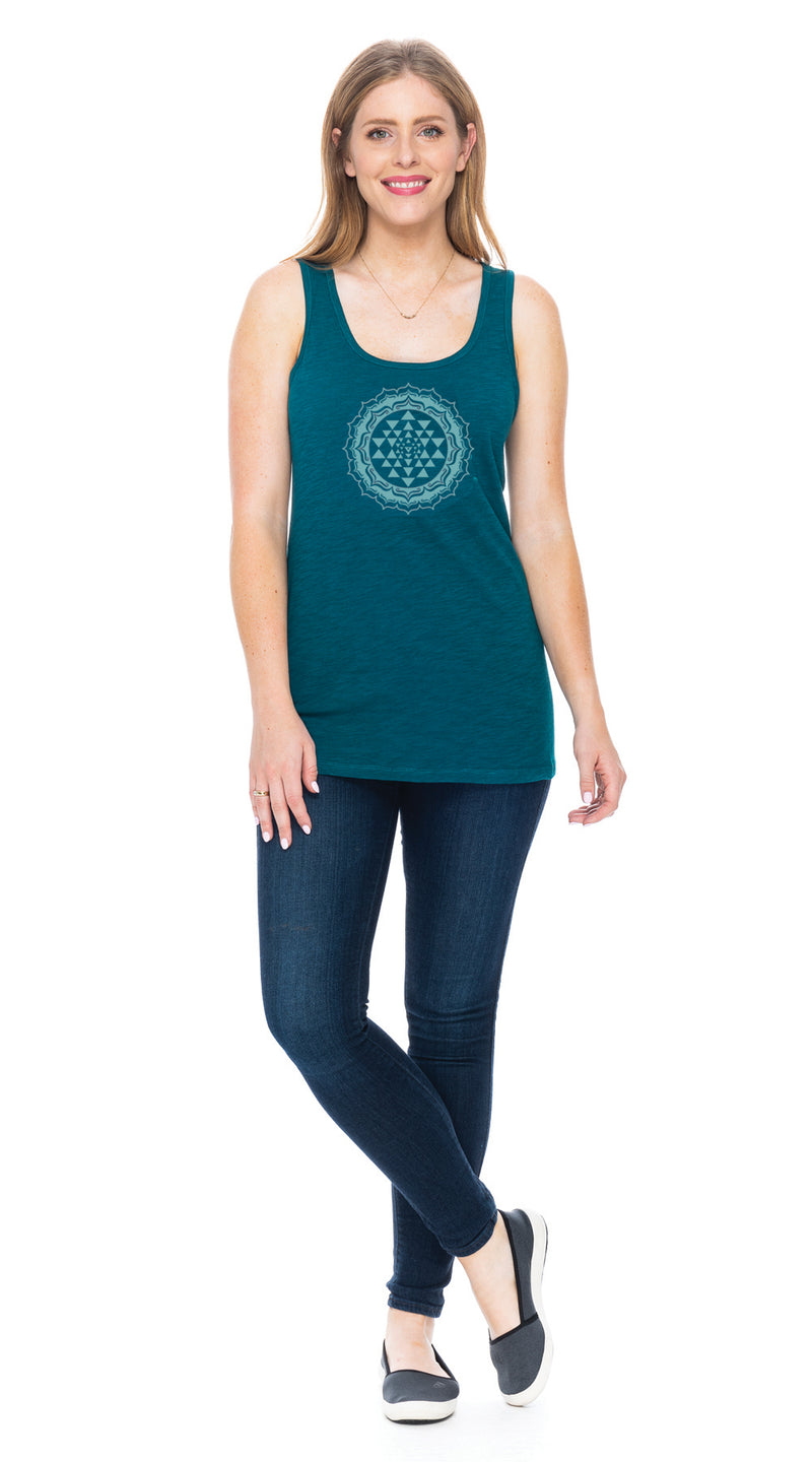 Long Tank - peacock yantra - organic cotton