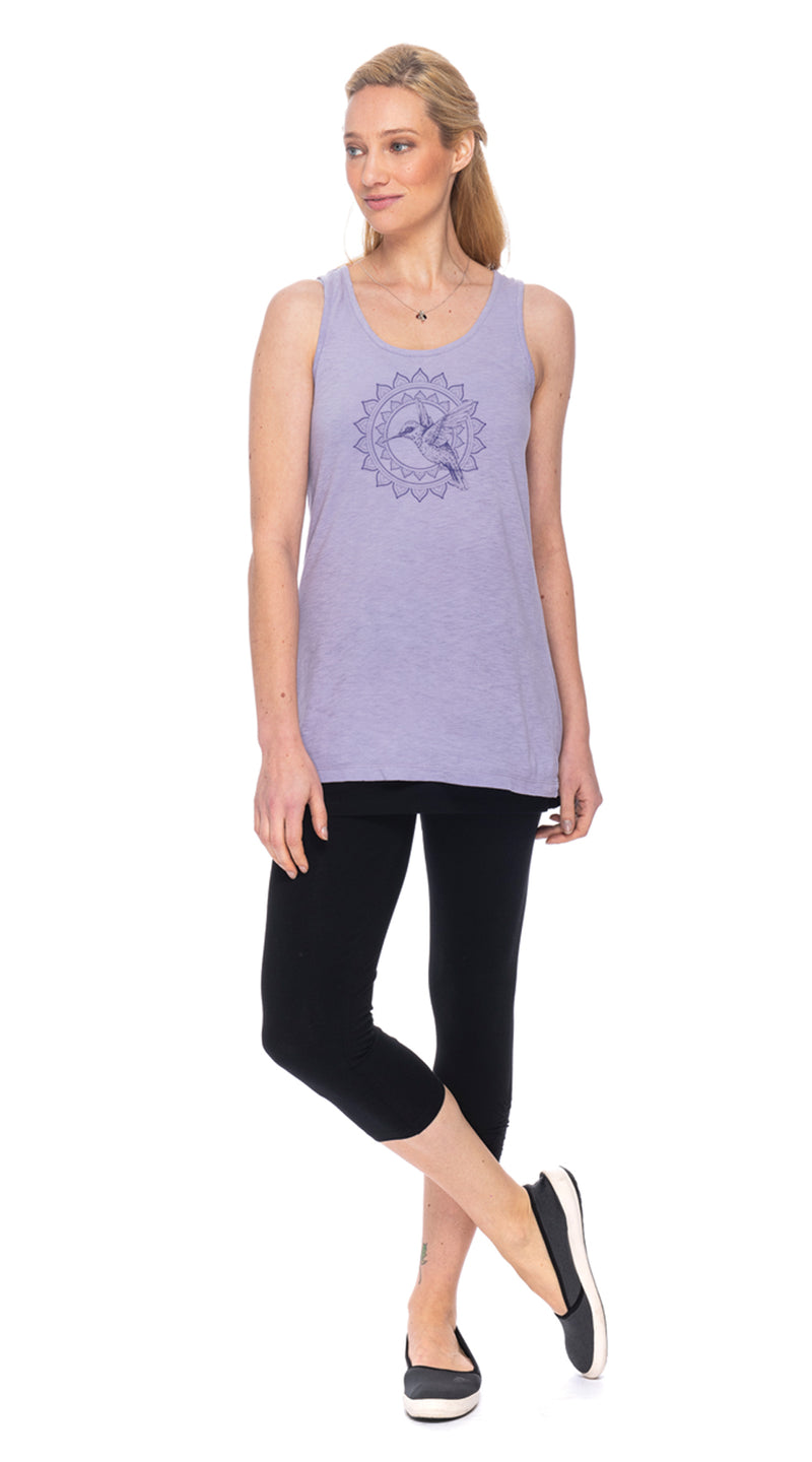 Long Tank -  wisteria hummingbird - org.cotton