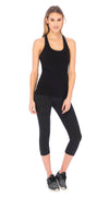 T-Back Yoga Top - black - organic cotton
