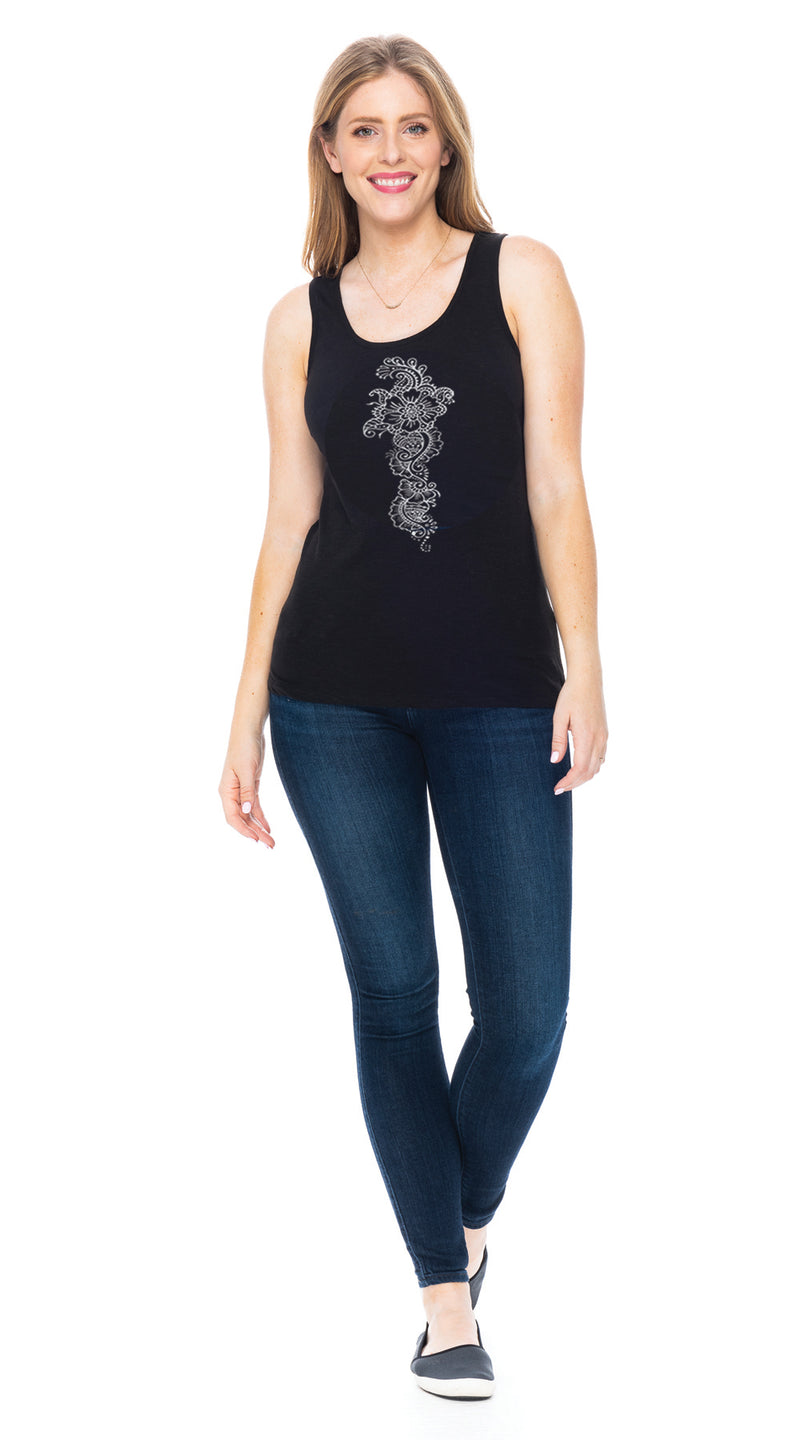 Satya Tank - black mehndi - organic cotton