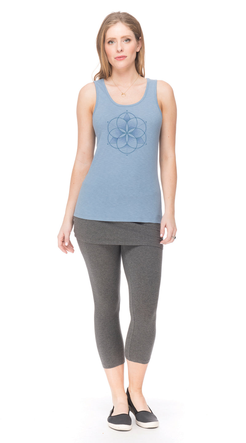 Satya Tank - denim seed of life - organic cotton