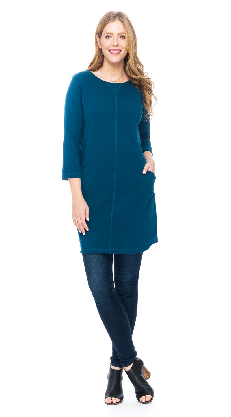 Kendra Tunic - deep teal - organic French terry