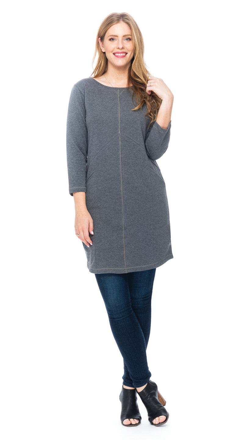 Kendra Tunic - grey melange - organic cotton