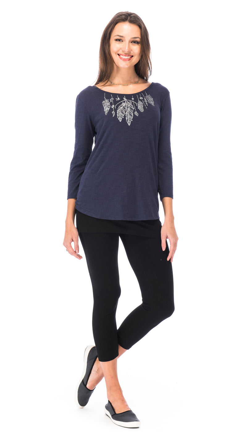 Lakshmi Tee - twilight feathers - organic cotton