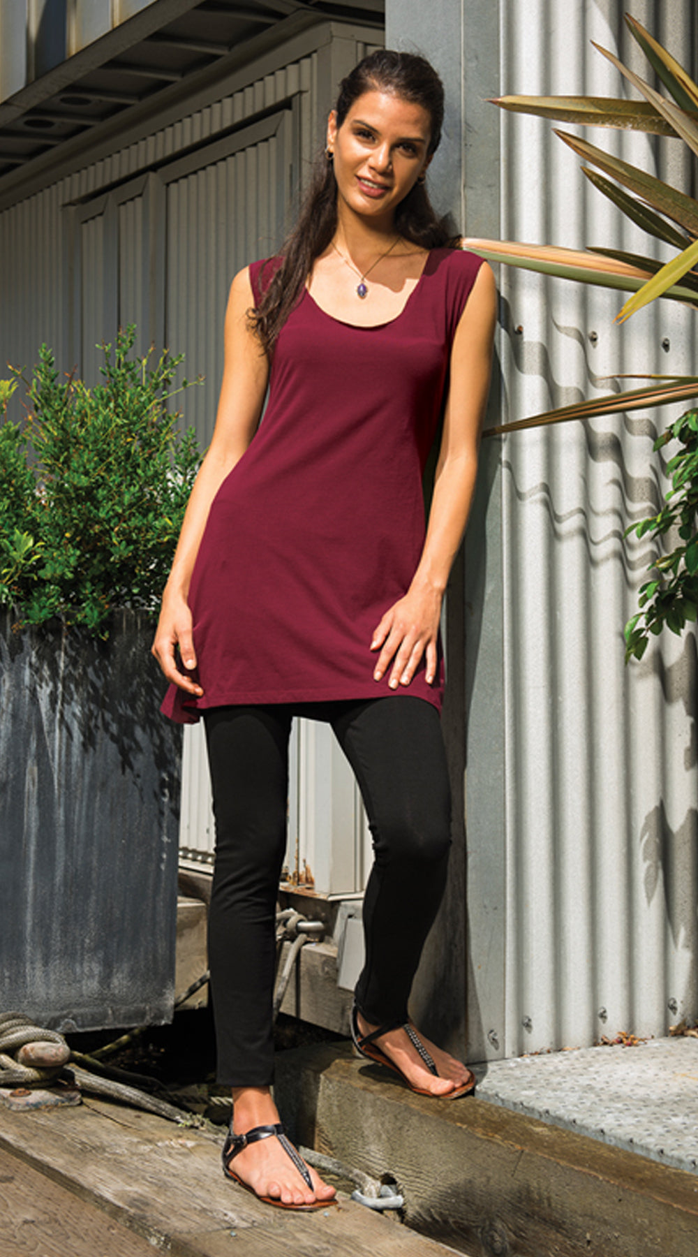 Sol Tunic - wine - organic cotton