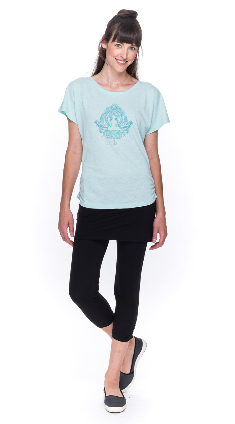 Cosmic Top - aqua Buddha - organic cotton