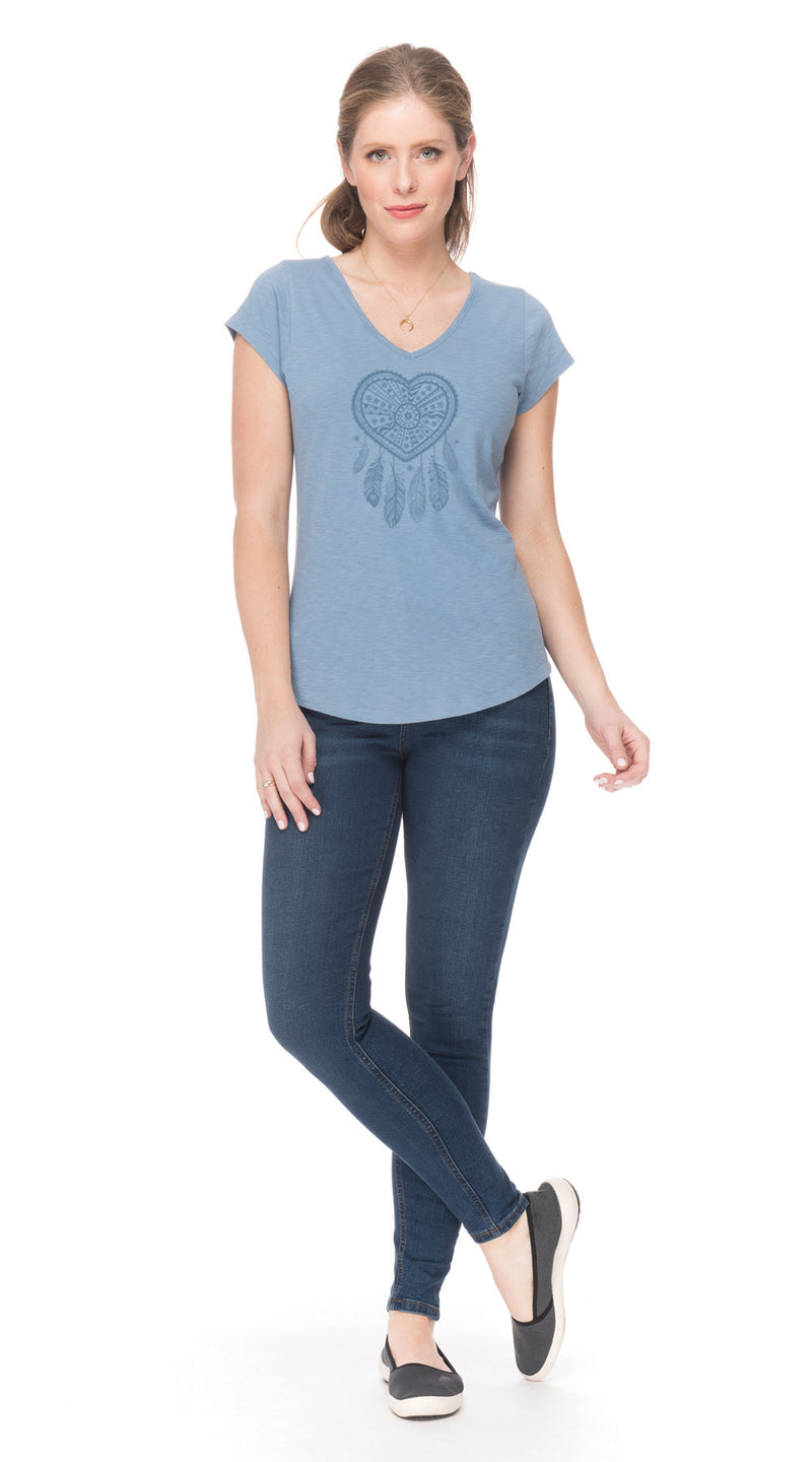 Sasha Tee - denim dreamcatcher - organic cotton