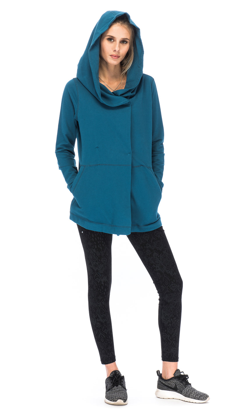 Vivian Cloak - teal - organic French terry