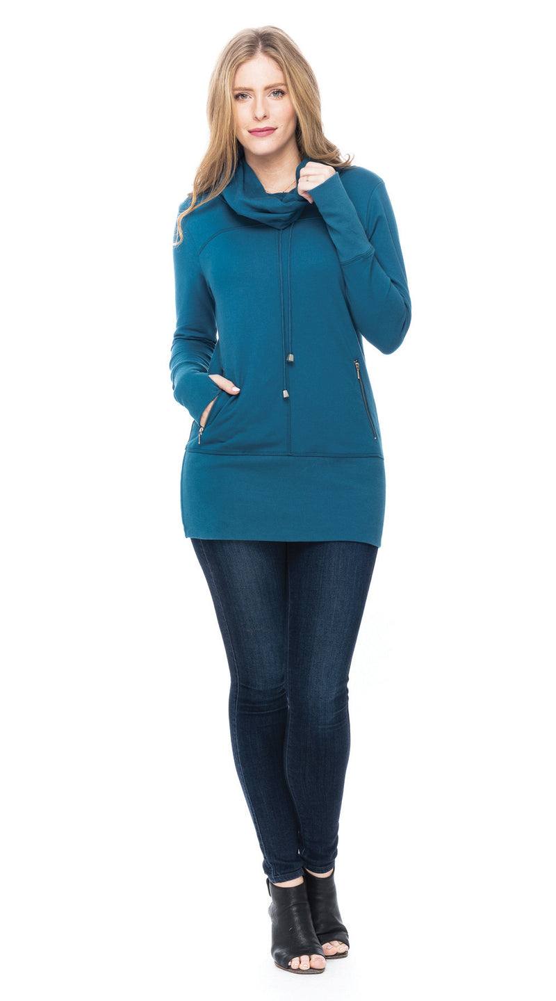 Terry Pullover - teal - organic French terry