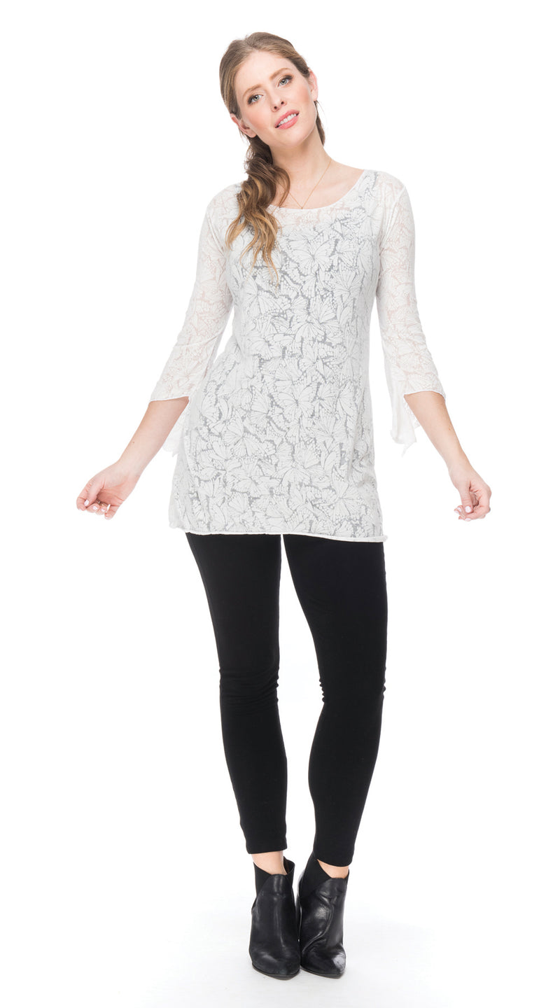 Burnout Amy Tunic - white butterfly