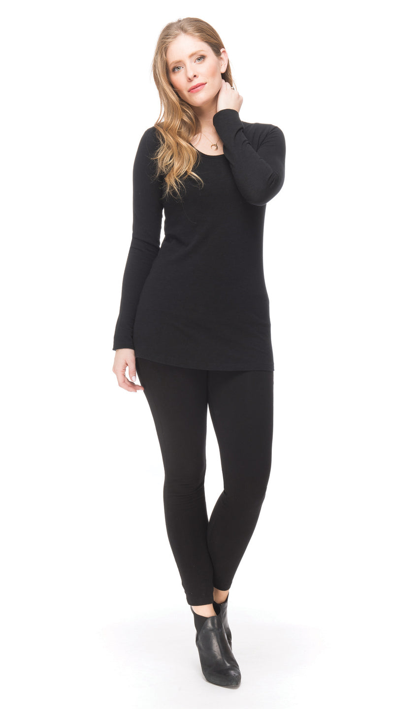 Essential Long Top - black - organic cotton