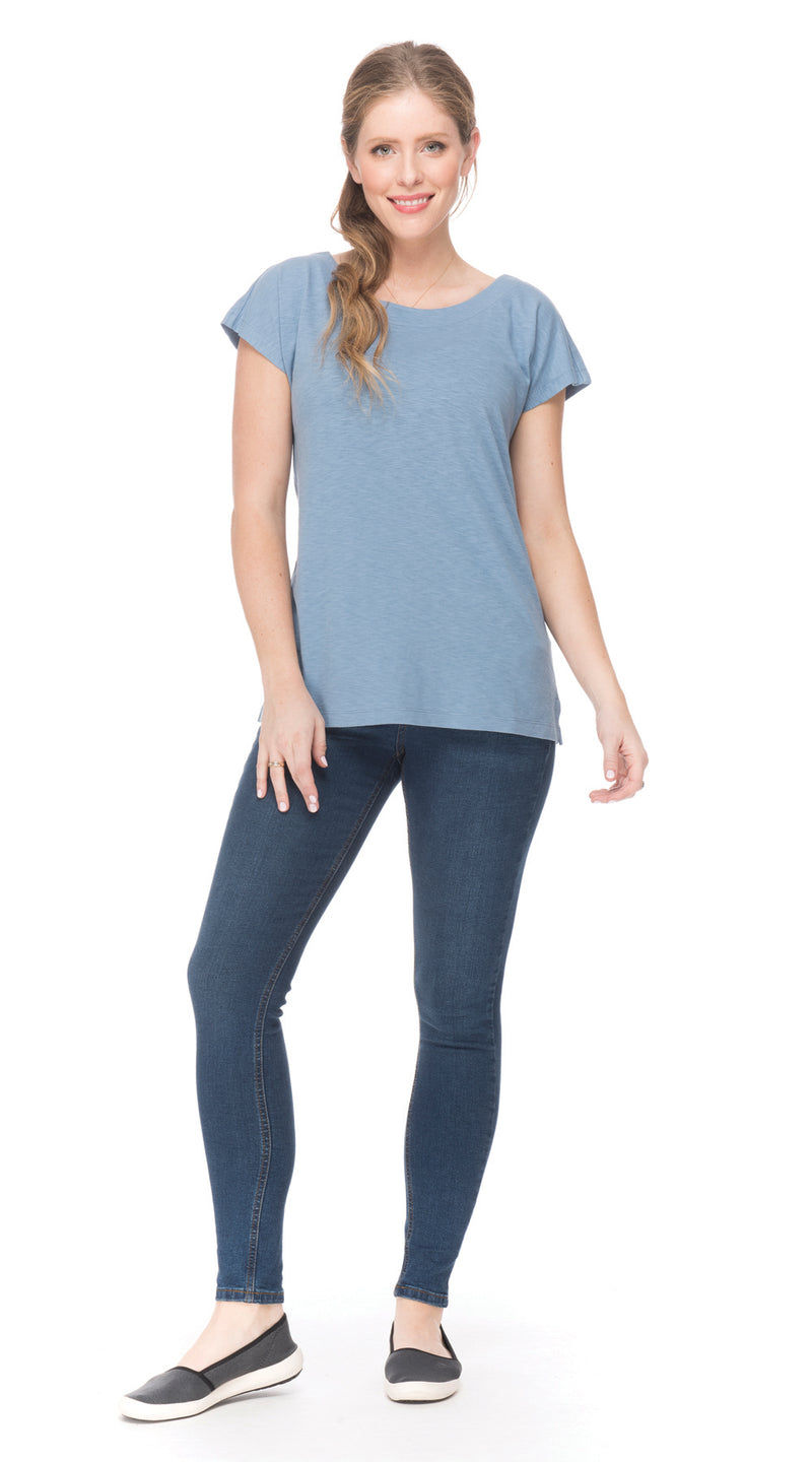 Beau Top - faded denim - org.cotton