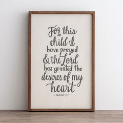 For This Child I Have Prayed - Framed Wall Board