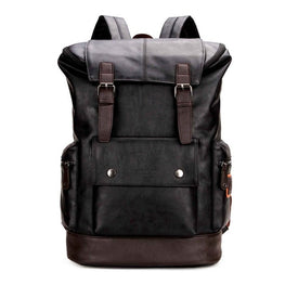 Simple Patchwork Mens Leather Backpack For Travel