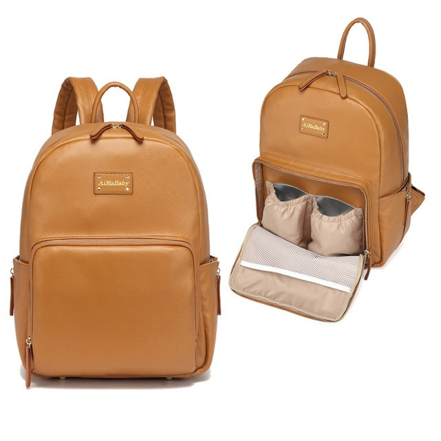 Brown PU Leather Diaper Backpack