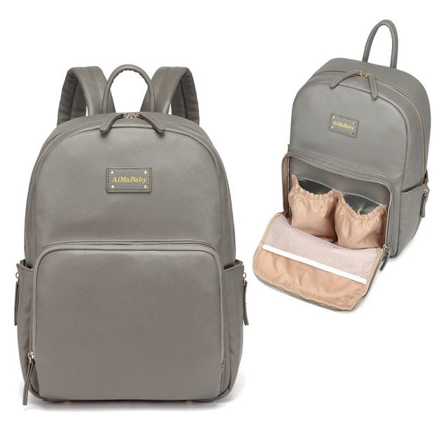 Grey PU Leather Diaper Backpack