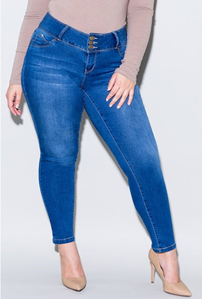 Jean Pants -3 Button Ankle Demin