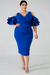 Dress - Cold Shoulder Cocktail (Blue)