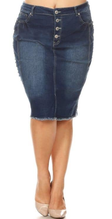 Jean Skirt - Dark Denim Mid-Buttons