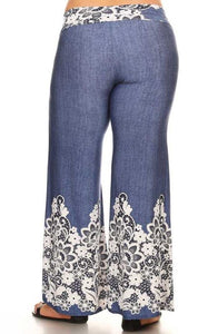 Pants - White Embroidery Wide Leg
