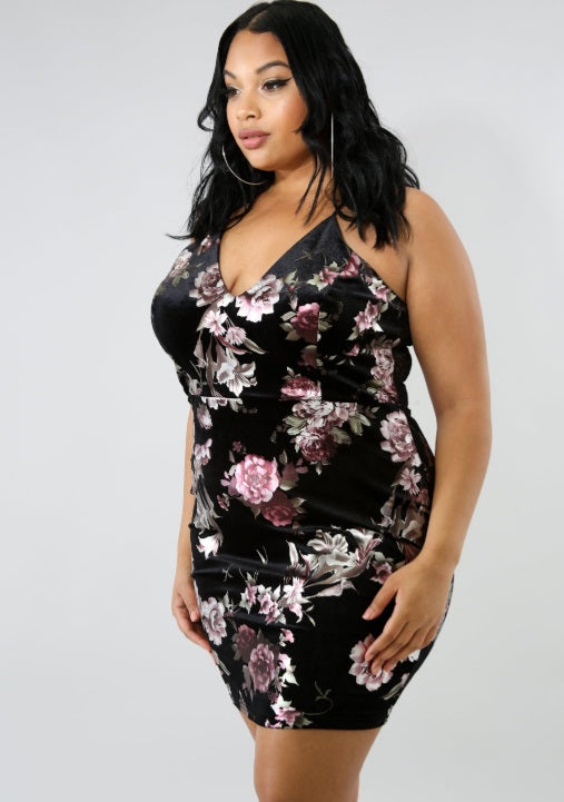 Dress - Suede Floral Body-Con