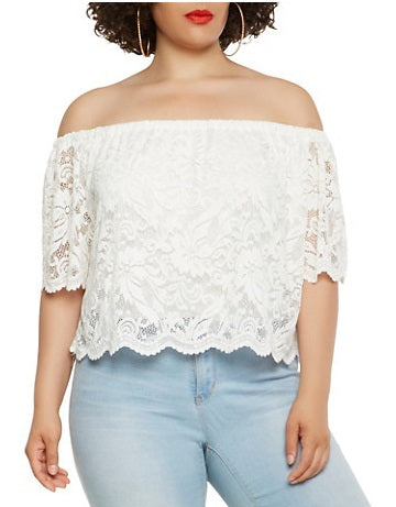 Blouse -White Flower Lace