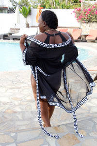Swimwear Cover up - Sheer Black and White Cover Up